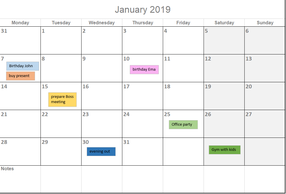 2019 Calendar Template For Excel By Excelmadeeasy