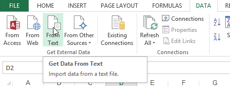 Importing text file into excel sheet