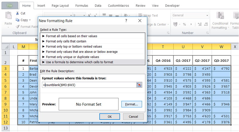 excel automatically highlight non empty fields or rows