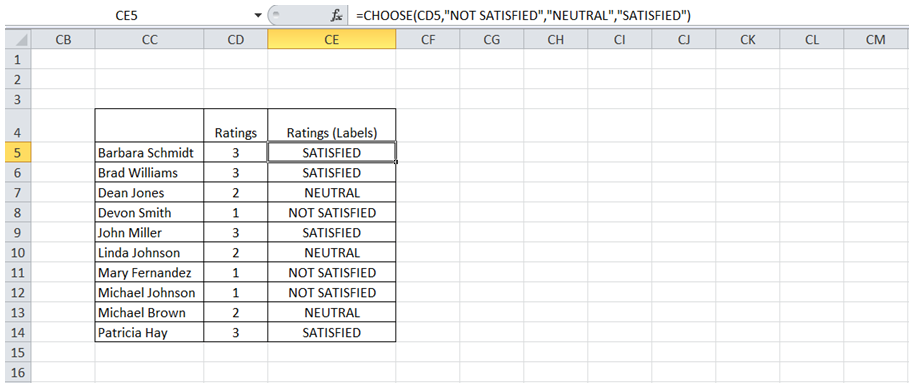 excel change number rating in text rating