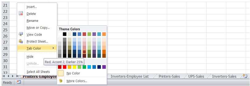 excel color code tab names