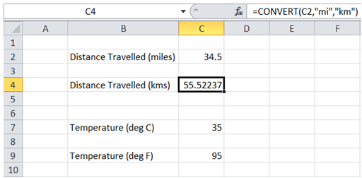excel convert measurement units