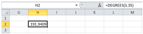 excel convert radian into degree