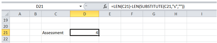 excel count number time character appears