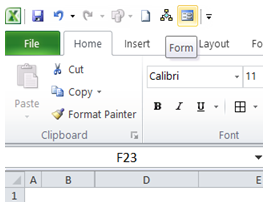 excel create a form to enter data