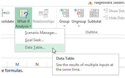 excel data table
