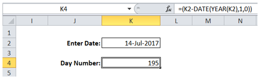 excel day number of the year