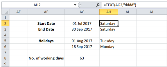 excel day of week for date