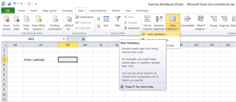 excel define acceptable entries value in cell