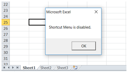 excel disable right click in workbook