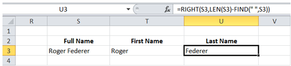 excel extract first last name