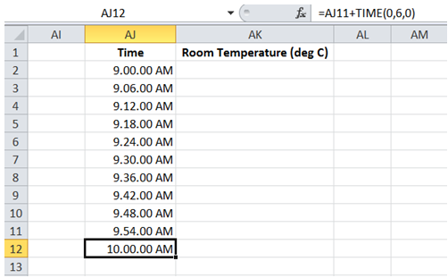 excel fill range with incremental time