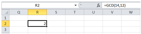 excel find greatest common divisor