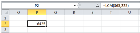 excel find least common multiple