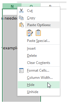 excel hide and unhide rows and columns