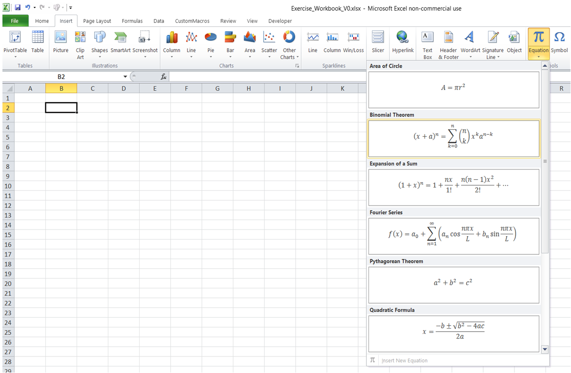 excel how to enter equation