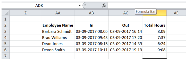 excel interval between 2 times