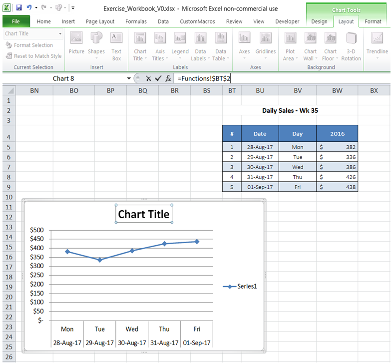 excel link chart title and cell value