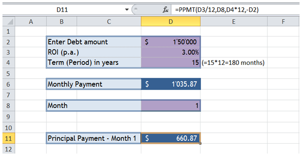 excel loan repayment for period