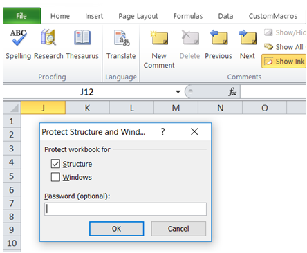 excel prevent deleting of sheets
