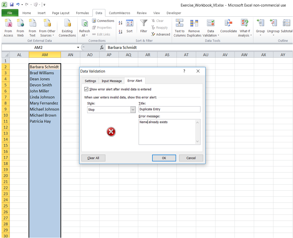 excel excel excel prevent entering duplicate values