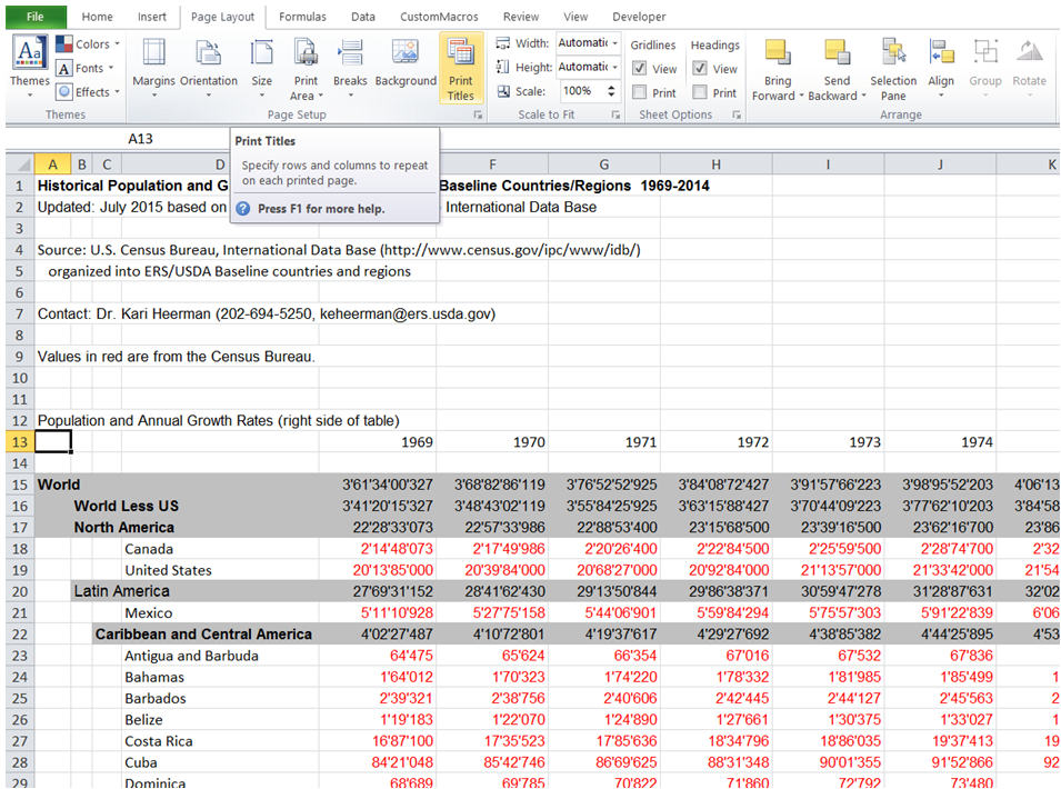 how to create titles on each page in excel