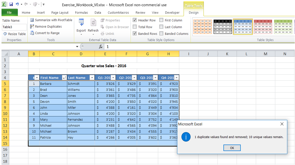 excel remove duplicate record