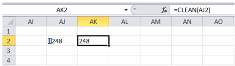 excel remove non printable character