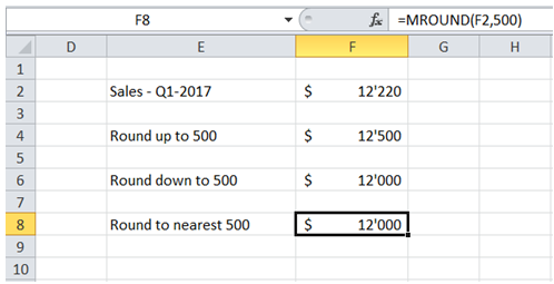 excel round figures to nearest 500