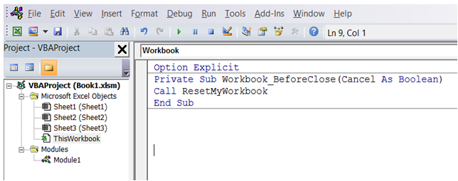 excel run macro at closing of the workbook
