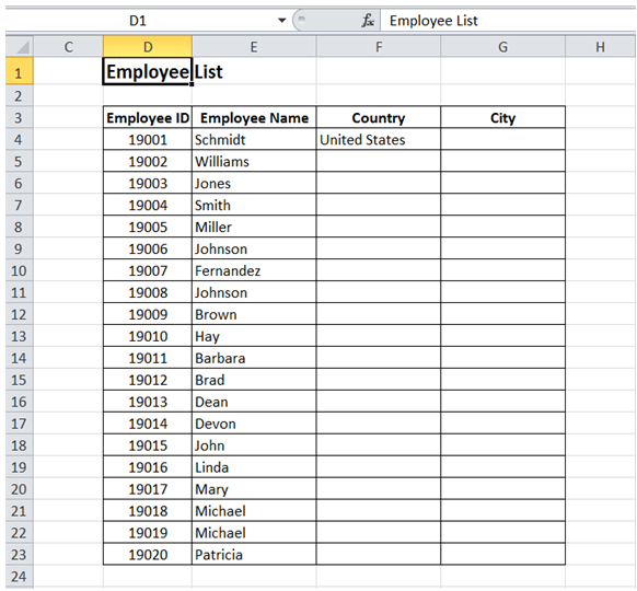 excel title appear in center without merging cells