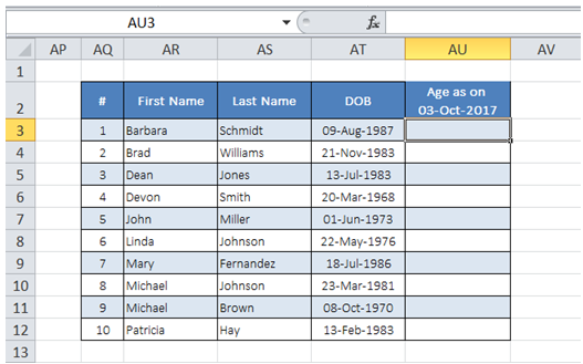 excel update current age of customer in table