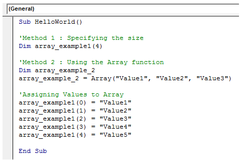 excel vba arrays definition