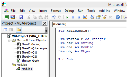 excel vba declaring assigning variable datatype