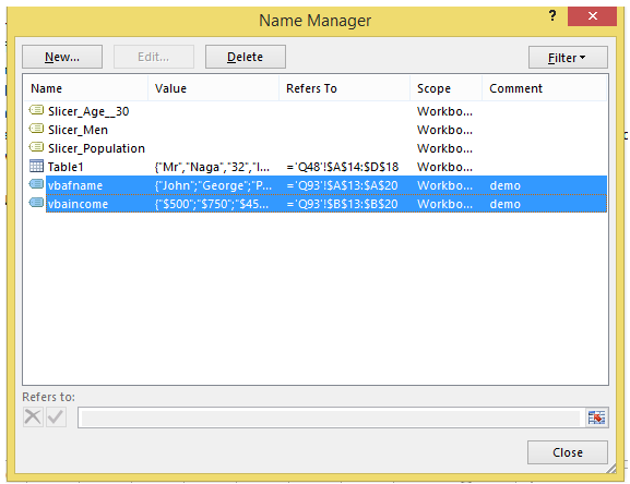 excel vba name manager in vba