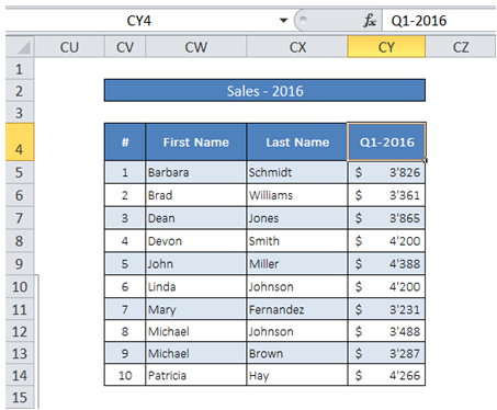 how to clear column excel vba