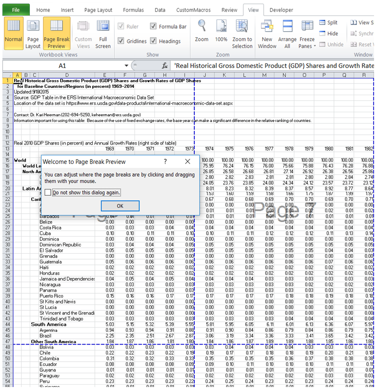 excel where can i see the page breaks before printing
