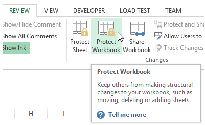 excel workbook protection