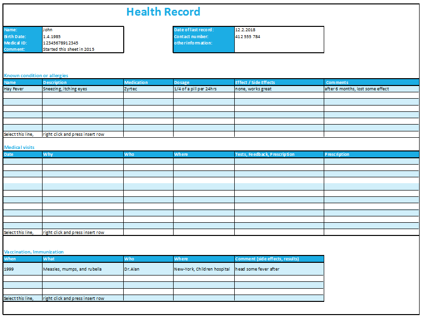 excel health record tracking log template by excelmadeeasy. Black Bedroom Furniture Sets. Home Design Ideas