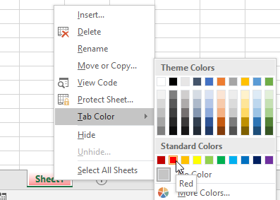 colour sheet tab excel