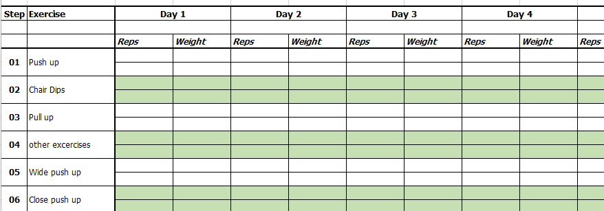 excercise chart template