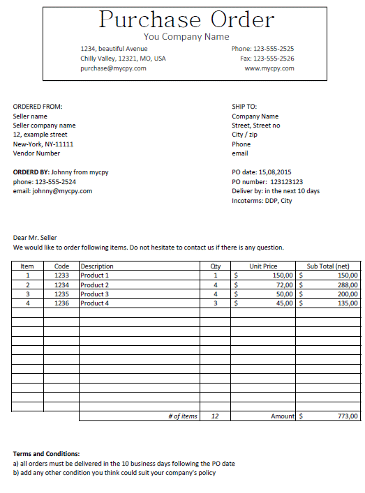 purchase order template classic