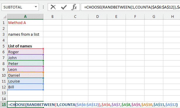 Excel Made Easy, Select randomly in a list (of name, numbers