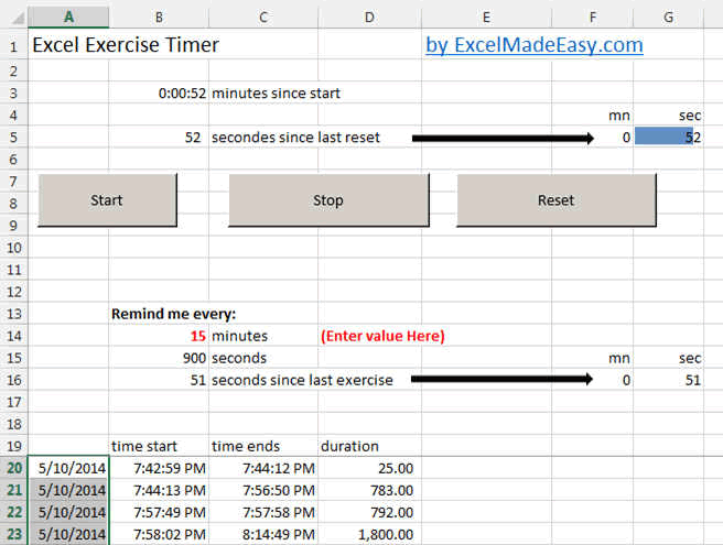 ExcelMadeEasy, The Excel Timer to make Exercise    Doing too