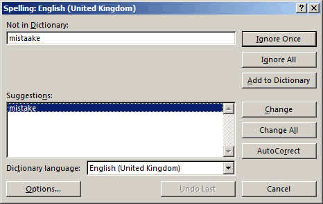 spell checker window