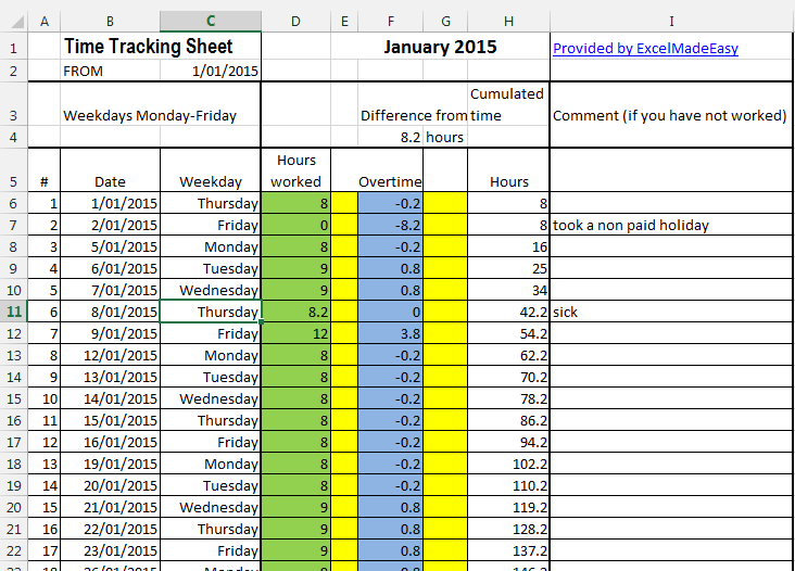 Excel Template - Time Tracking Sheets Template (free) by Excel ...