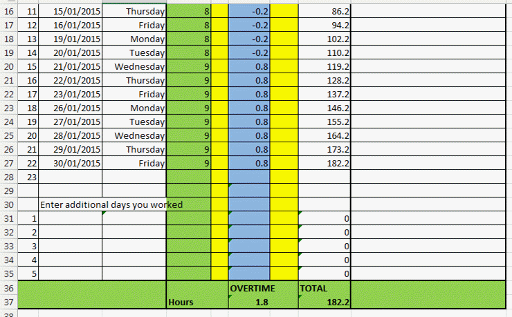 work hours excel template
