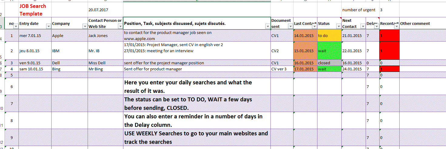 Job Search Excel Template Tracking List by Excel Made Easy