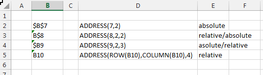 ADDRESS function excel