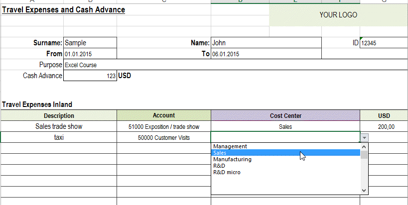 Excel Template Free Travel Expense Report Template For